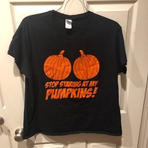"2xl unisex ""stop staring at my pumpkins"" T-shirt"